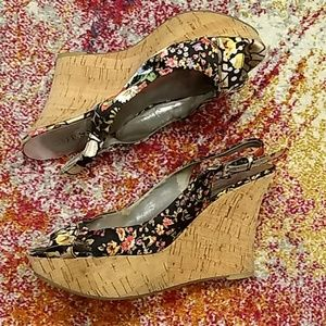 GUESS Platform Floral Cork Wedges